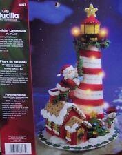 Bucilla Santa HOLIDAY LIGHTHOUSE Felt Christmas Centerpiece Kit~Lighted RARE LTD