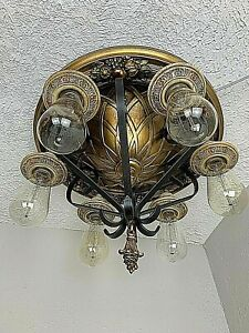 1910-20s Spanish Revival 6 Light Iron & brass Flush Mount Fixture