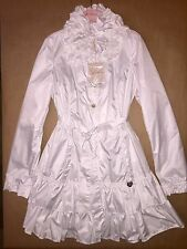 NWT Miss Blumarine Warm Weather Trench Coat In White With Ruffles Size 14