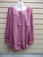 TOP TUNIC ROSE SIZE 18,22,32 SHEEGO WORN WASHED OUT LOOK CASUAL BNWT G018