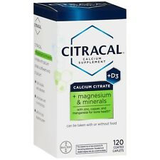 Citracal Calcium Citrate Supplement + D3, 120 Coated Caplets -Expiration 12-2019
