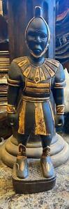 Antique Black Golden Wood Heavy Spartan Warrior Handmade Collectible Big Statue