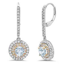 2.52 Round Cut Halo Blue Simulated Diamond Drop Dangle Earrings 14k 2 tone Gold