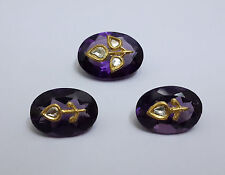 Gold Diamond Inlay 3Pc Set With Hydro Amethyst For Setting In Jewellery