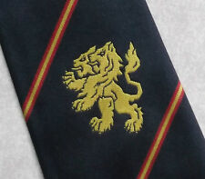 Cravatta bidirezionale Leone Stemma Emblema Motivo club associazione 1990s Navy a Righe