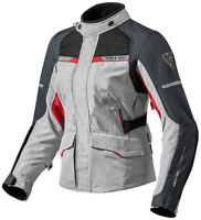 GIACCA MOTO REV'IT OUTBACK 2 DONNA TRE STRATI IMPERMEABILE ARGENTO ROSSO TG.40