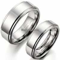 Polished Silver Tungsten Carbide Ring Flat Ridged Edges Aniversary Wedding Band