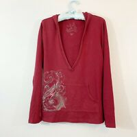 Molly Maxi Women's Soft Maroon Hoodie Floral Art To Wear Size Medium