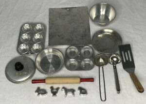 Lot of 11 Vintage Metal Play Toy Kitchen Pots Pans Cookie Sheet Cutters Utensils