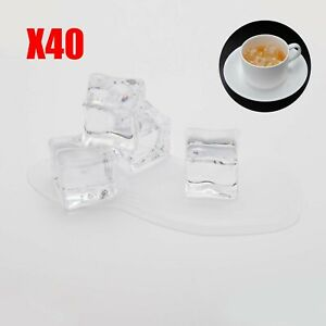 40x Fake Artificial Acrylic Ice Cubes Crystal 2cm Square Clear Display Party