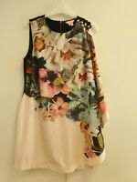 M553 WOMENS TED BAKER PINK FLORAL BODYCON DRESS UK 14 EU 42 TED SIZE 4