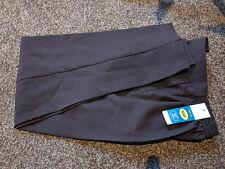 "ladies straight leg work wear elasticated waist trousers chocolate brown 25"""