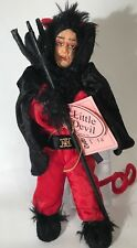 """Show Stoppers Little Devil Collectible 10"""" Doll Pitch Fork Red Black Velvet Rare"""