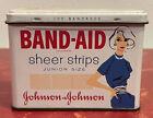 Vintage Band Aid Tin Lady Blue Dress Sheer Strips BandagesRare Junior Size Tin