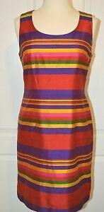 Jessica Howard Bold Striped Silk Shift Dress Sz 10 Lined Sleeveless Zip Closure