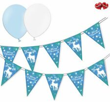 Christmas Bundle Reindeer Blue Bunting Banner 15 flags & 8 Asst latex balloons