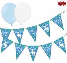 Christmas Bundle Reindeer Blue Bunting Banner 15 flags & 6 Asst latex balloons