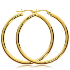 9CT YELLOW GOLD ROUND POLISHED EARRINGS 30X2MM PLAIN HOOP TUBE CREOLE SLEEPER