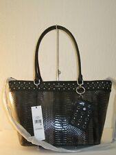 Calvin Klein Susan Black Python Convertible Tote Bag W/ Matching Card Case $248
