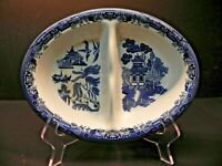 """Willow Blue by Churchill 9 3/4"""" Oval Divided Serving Bowl"""