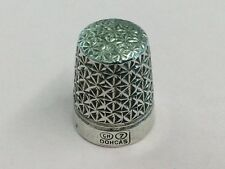 ANTIQUE SILVER PLATED DORCAS 7 THIMBLE BY CHARLES HORNER 1920
