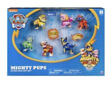 Paw Patrol Mighty Pups 6 Pack Gift Set Figures  w/ Light Up Badges & Paws NEW!!