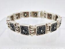 """Vintage Sterling Hammered Hinged Bracelet Antique Silver Color Signed 25.7g 7"""""""