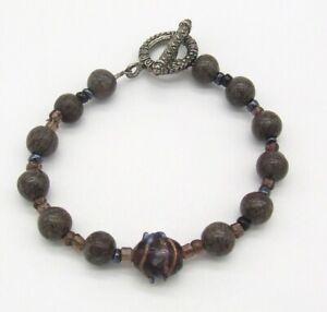 "7.75"" Lace Agate/Grape Wedding Cake Bead Toggle Bracelet~Lamp Work~Silver Tone"