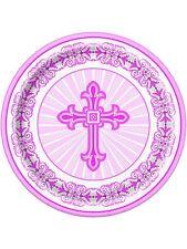8 X Rose Croix Assiettes en Papier Baptême Confirmation Communion