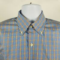 Peter Millar 100% Cotton Mens Blue Yellow Check Dress Button Shirt Sz Medium M
