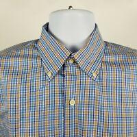 Peter Millar 100% Cotton Mens Blue Yellow Check Dress Button Shirt Sz Medium M