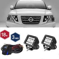 "DOT 3"" 18W Led Driving Fog Lights Pods Spot+WIRING KITS For  Nissan Titan"