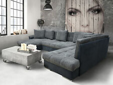 CHAISE CORNER SOFA BED GROUP, ERIC, LARGE  BEDDING PLACE,SOFT CUSHIONS, grey