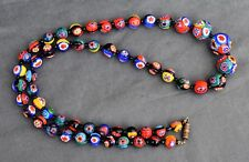 ANTIQUE NECKLACE MURANO BEADS VENETIAN MILLEFIORI COLLIER EN PERLES DE MURANO