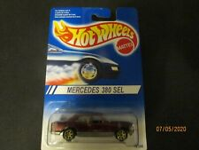 Hot Wheels 1995 Mercedes 380 SEL Burgundy w/10 spoke Gold Wheels Rare MOC Sealed
