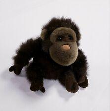 "Vintage 1996 Plush Land Small Stuffed Beanbag Plush Brown Monkey 9"""