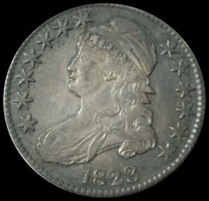 1823 SILVER UNITED STATES CAPPED BUST HALF DOLLAR COIN EXTREMELY FINE