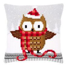 Vervaco Cross Stitch Cushion Kit: PN-0149312 Owl in Santa Hat