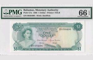 1968 Bahamas $1 PMG66 EPQ <P-27a> GEM UNC
