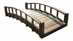 SamsGazebos 6' Japanese Wood Garden Bridge with Arched Railings, Made in USA