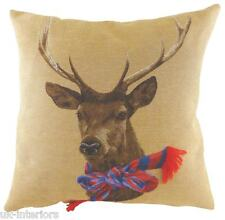 """18"""" STAG Scarf Blue Red Belgian Tapestry Cushion deer Evans Lichfield LC486"""