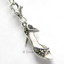 Sterling Silver Marcasite High Heel Shoe Dangle For European Clip on Charm