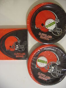 CLEVELAND BROWNS NFL FOOTBALL Party Supplies Includes Plates & Napkins NEW !