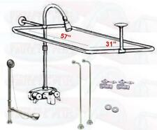Chrome Clawfoot Tub Faucet Add-A-Shower Kit W/Curtain Rod, Drain & Supplies