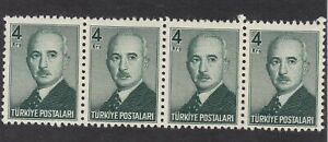 Turkey 1948 - President Inonu - 4K Green - SG1380 - MNH - Block of 4 (E22G)
