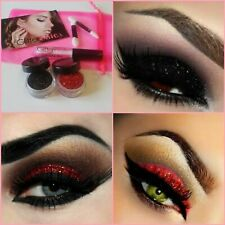 Halloween Party Glitter Make up Set Eyes Body Lips Kit Red Black 1 x Glue Set