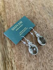 Shivam Silver Earrings With Green Amethyst Retail $68 Made In India