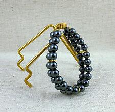 Ancien bracelet à double rang de perles d'hématite Pierre fine Bijou fantaisie