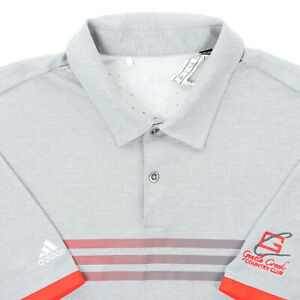 "Adidas Men Large 46"" Gentle Creek Country Club Golf Polo Shirt Gray Red Stripe"