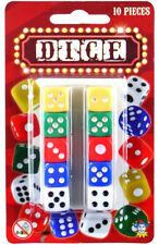 10 PIECE DICE SET COLOURED SIX SIDED REPLACEMENT HOME CASINO PLAYING GAMES CRAPS